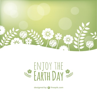 Floran Earth day background in green and white