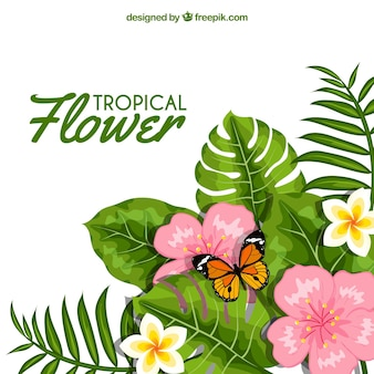 Flower background with leaves and butterfly