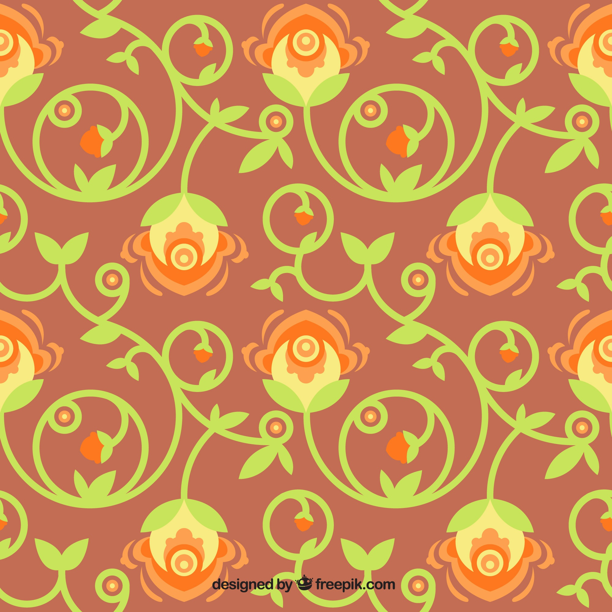 Flower background with ornamental leaves