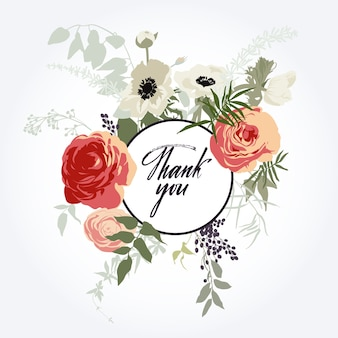 Flower frame. Thank you card
