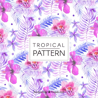 Flower pattern and tropical watercolor leaves