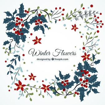 Flowers and christmas leaves