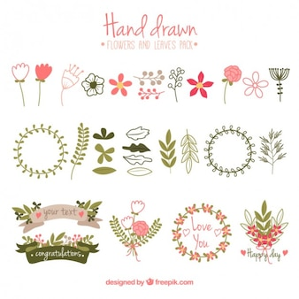 Flowers and leaves collection in hand drawn style