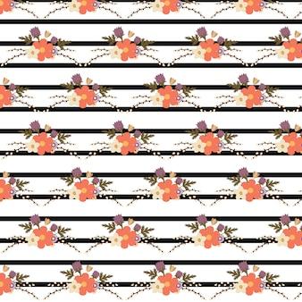 花とストライプのパターンの背景
