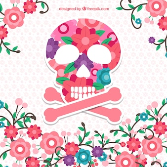 Flowers background with skull
