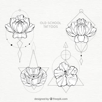 Flowers with geometric shapes tattoo collection