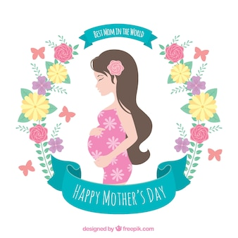 Flowery background of pregnant woman