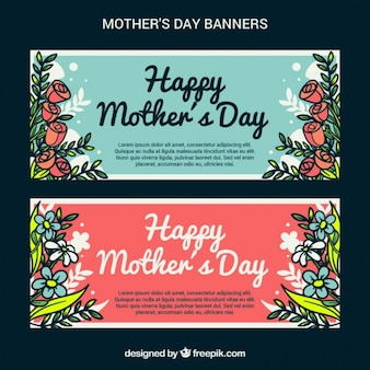 Flowery mother's day banners pack