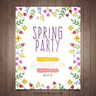 Flowery spring party poster