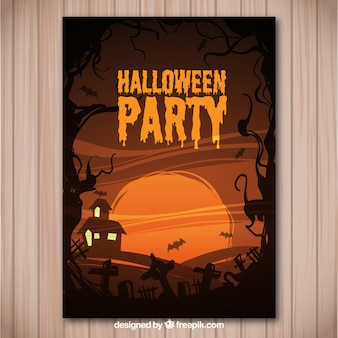 Flyer for a halloween party in brown tones