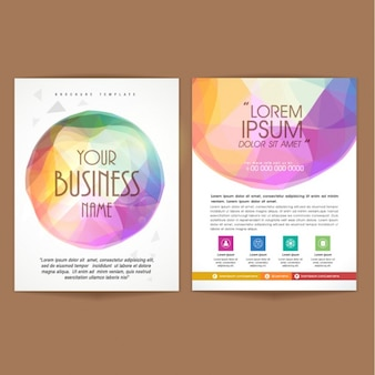 Flyer template with colorful round shape