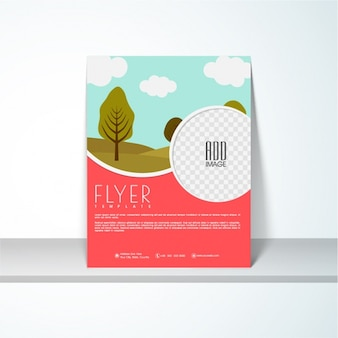 Flyer template with landscape in flat design