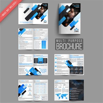 Flyer templates with shapes in blue tones