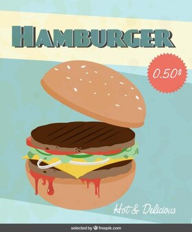 Flyer with hamburger illustration