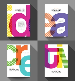 Flyers with colorful letters