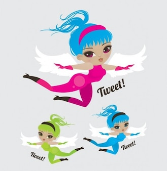 flying girls with wings
