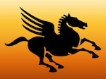 Flying horse wings vector silhouettes