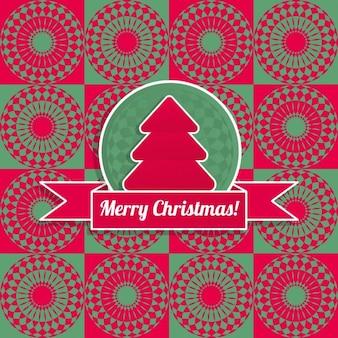 Fondo de navidad con un árbol rojo