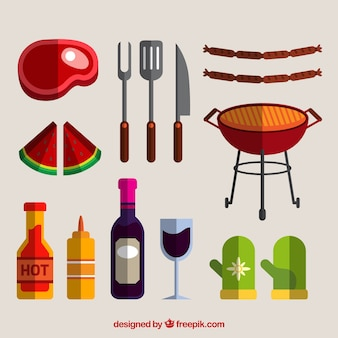 Food and elements for bbq