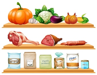 Food and ingredients on the shelf illustration