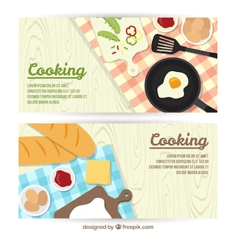 Food banners and cooking utensils