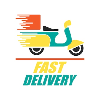Food delivery logo with motorbike design