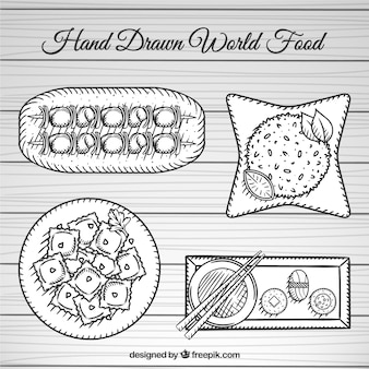 Food dishes from around the world,