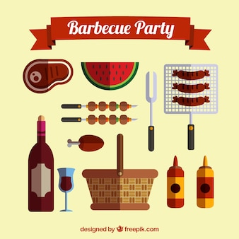Food for barbecue paty in flat design