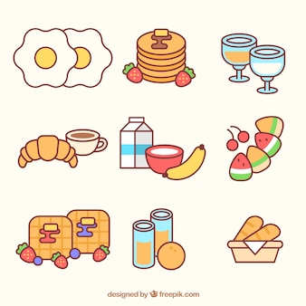 Food for breakfast in linear style