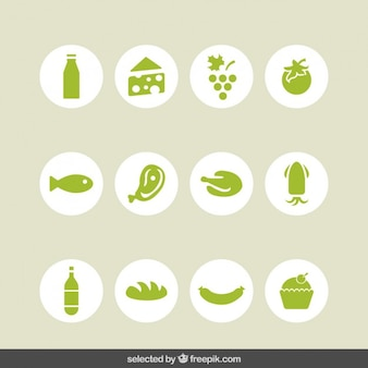 Food green icons collection