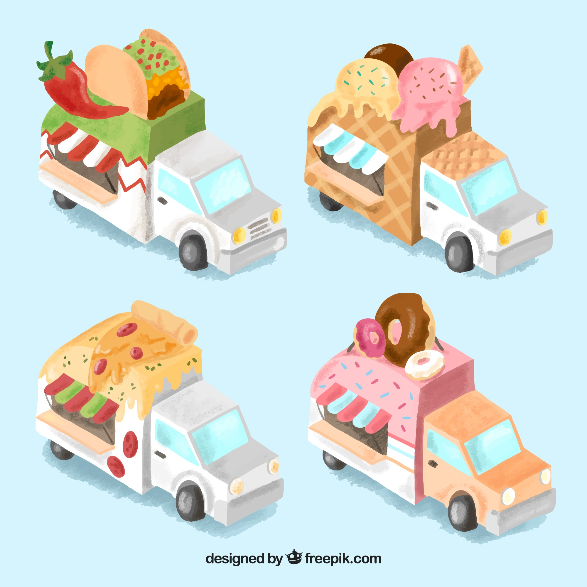 Food truck collectiion with isometric perspective