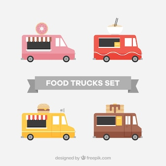 Food truck collection with flat design