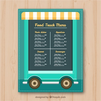 Food truck menu on wheels and with awning