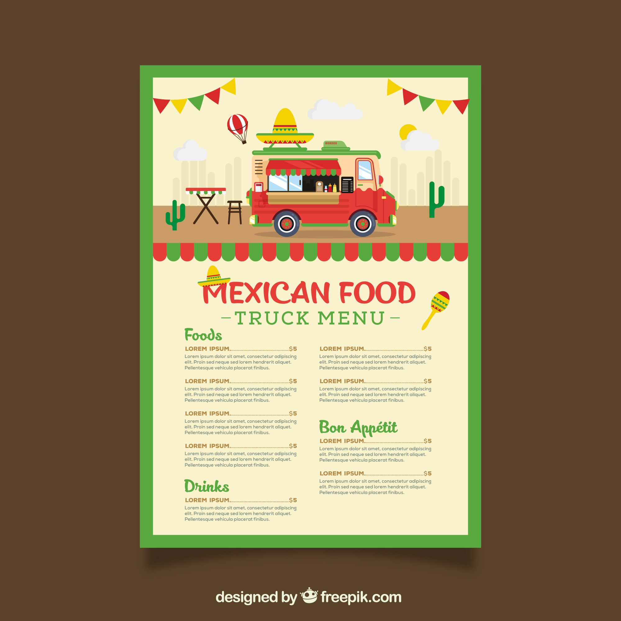 Food truck menu template wit mexican food