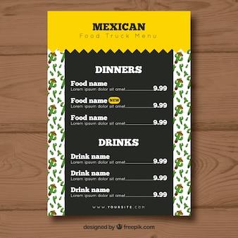 Меню грузового грузовика с мексиканской кухней