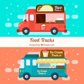 Food trucks with ice creams and mexican food