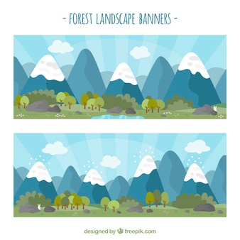 Forest landscape banners in blue tones