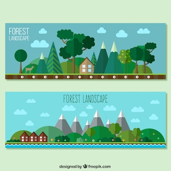 Forest landscape banners in flat design