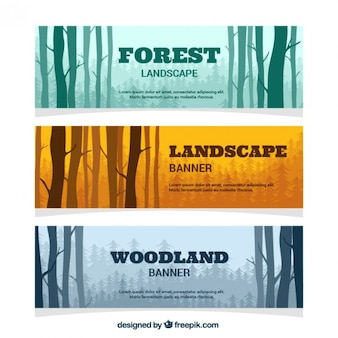 Forest silhouttes banners set