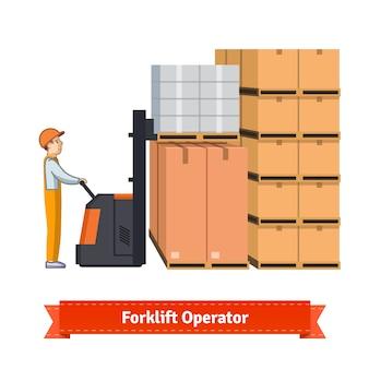 Forklift operator loading boxes