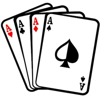 Four aces poker cards clip art