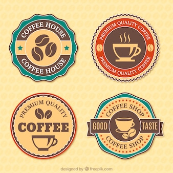 Four badges for coffee