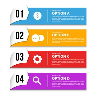 Four banners with options for an infographic