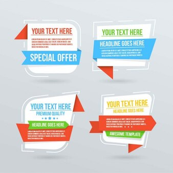 Four banners with text templates for infographics