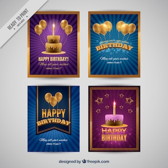Four birthday cards in retro style