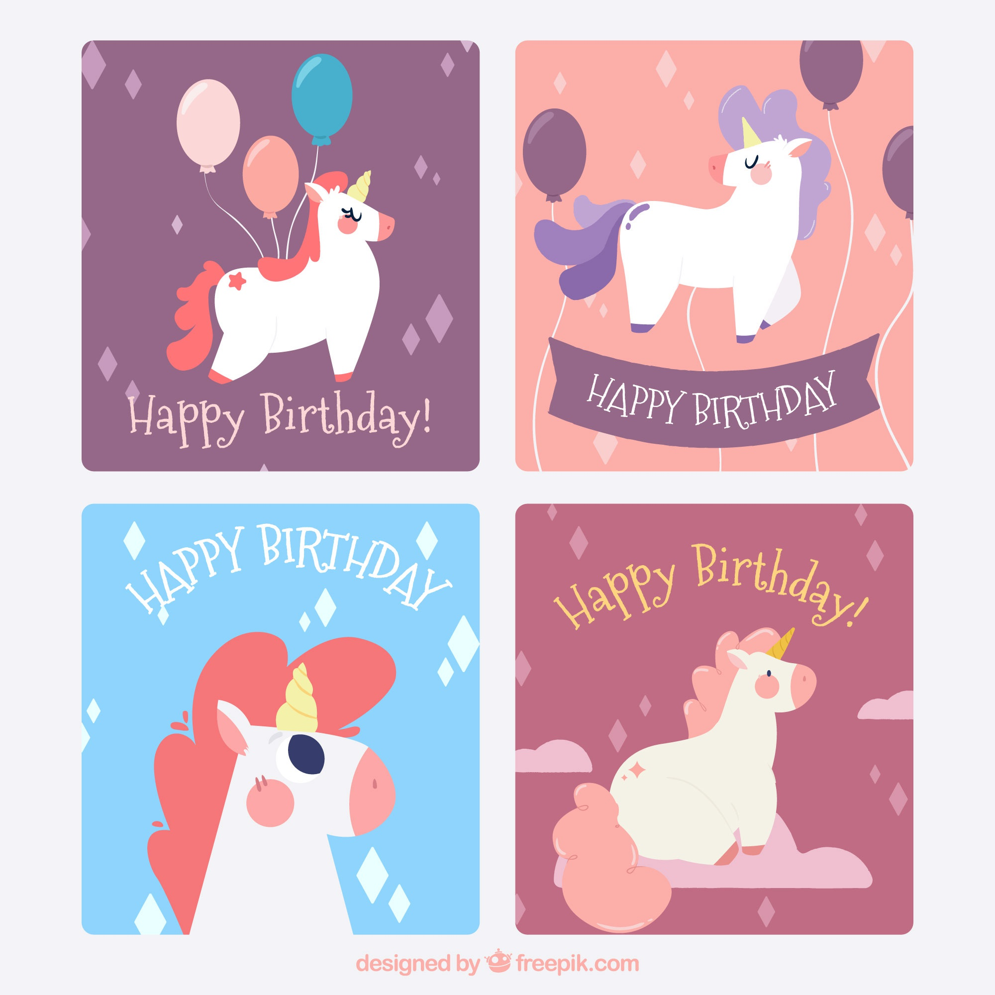 Four birthday cards with funny unicorns