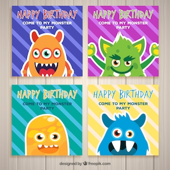 Four birthday cards with monsters