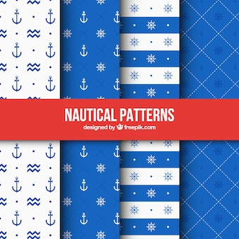 Four blue nautical patterns