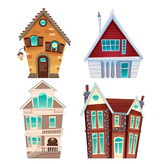 Four cartoon houses