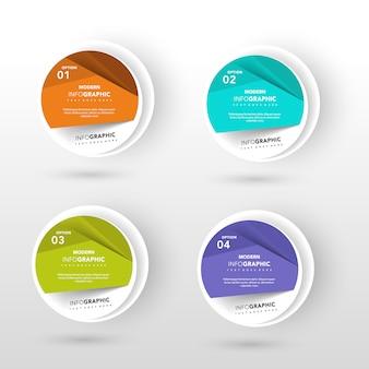 Four circular fold banner design